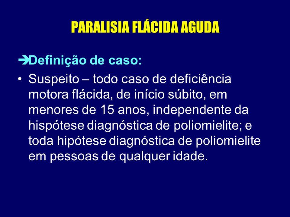 PARALISIA FLÁCIDA AGUDA èDefinição de caso: Suspeito – todo caso de deficiência motora flácida, de início súbito, em menores de 15 anos, independente