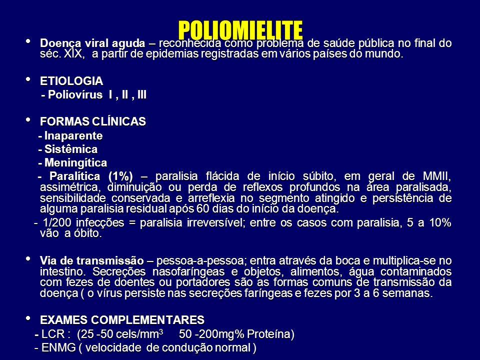 POLIOMIELITE Doença viral aguda – reconhecida como problema de saúde pública no final do séc. XIX, a partir de epidemias registradas em vários países