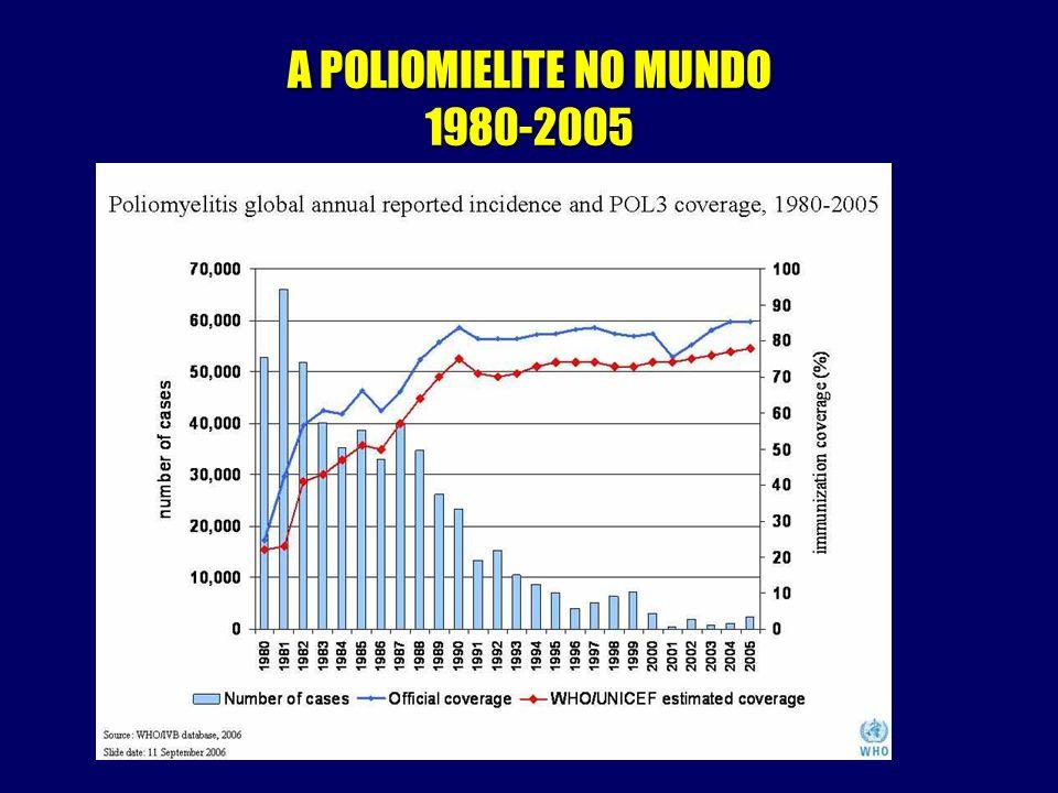 A POLIOMIELITE NO MUNDO 2006 Total de casos no mundo – 1253 Em países endêmicos – 1153 Em países não-endêmicos – 100