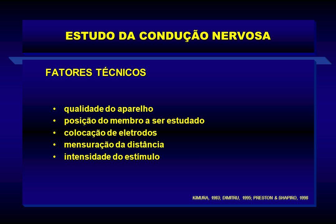 FATORES TÉCNICOS qualidade do aparelhoqualidade do aparelho posição do membro a ser estudadoposição do membro a ser estudado colocação de eletrodoscol