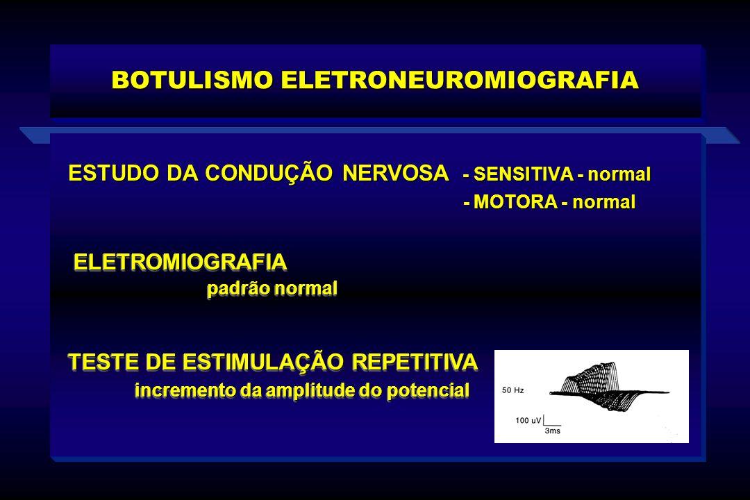 BOTULISMO ELETRONEUROMIOGRAFIA ESTUDO DA CONDUÇÃO NERVOSA - SENSITIVA - normal - MOTORA - normal - MOTORA - normal ELETROMIOGRAFIA padrão normal ELETR
