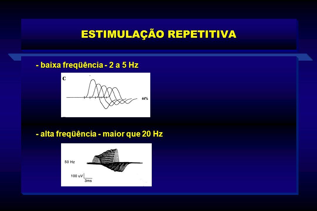 - baixa freqüência - 2 a 5 Hz ESTIMULAÇÃO REPETITIVA - alta freqüência - maior que 20 Hz