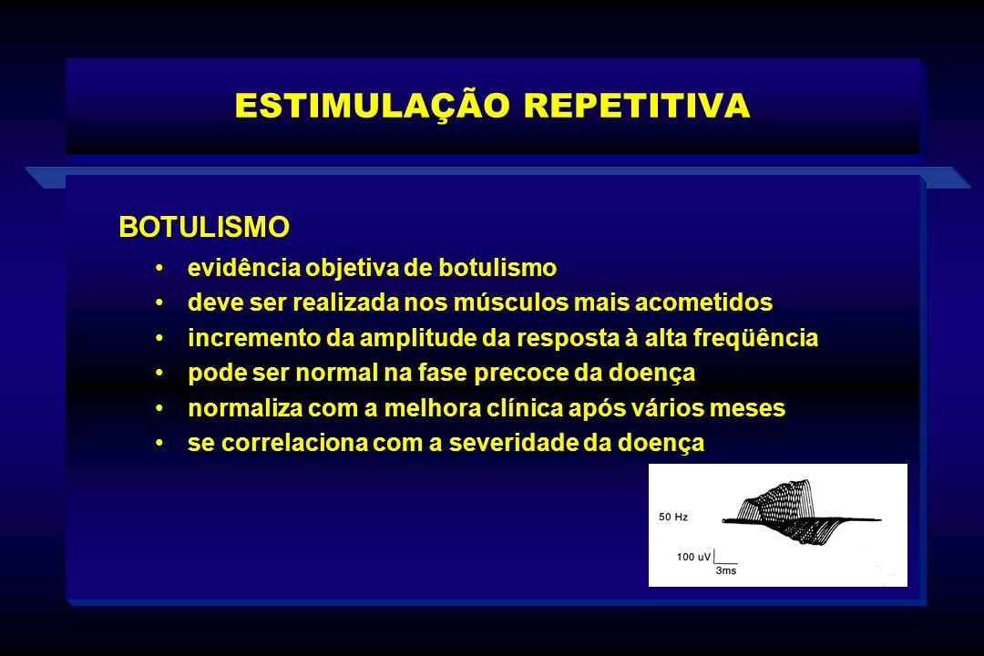 ESTIMULAÇÃO REPETITIVA BOTULISMO evidência objetiva de botulismoevidência objetiva de botulismo deve ser realizada nos músculos mais acometidosdeve se