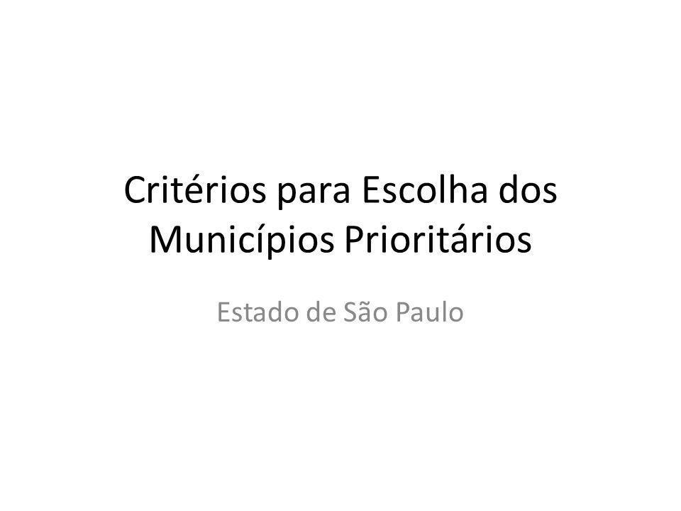Critérios para Escolha dos Municípios Prioritários Estado de São Paulo
