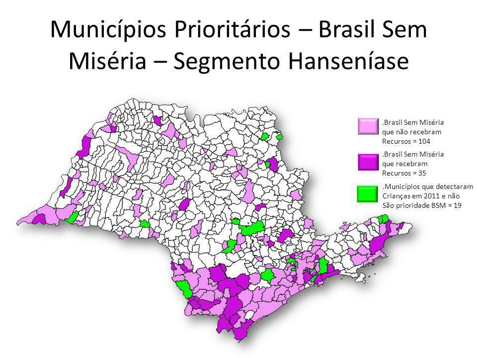 Municípios Prioritários – Brasil Sem Miséria – Segmento Hanseníase.Brasil Sem Miséria que recebram Recursos = 35.Brasil Sem Miséria que não recebram R