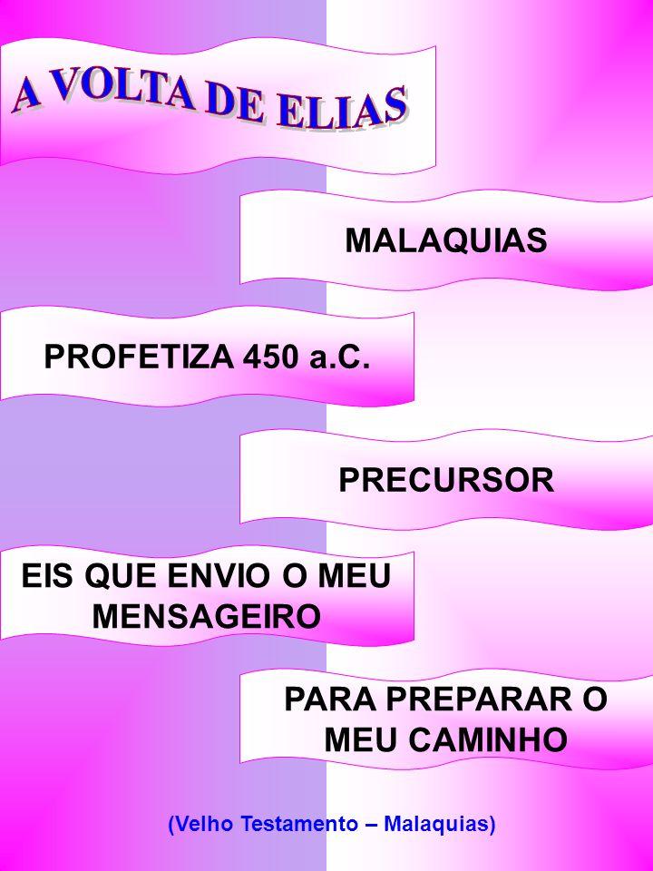 MALAQUIAS PROFETIZA 450 a.C. EIS QUE ENVIO O MEU MENSAGEIRO PARA PREPARAR O MEU CAMINHO PRECURSOR (Velho Testamento – Malaquias)