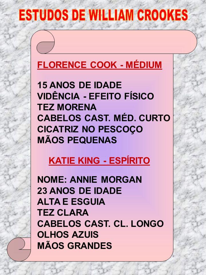 FLORENCE COOK - MÉDIUM 15 ANOS DE IDADE VIDÊNCIA - EFEITO FÍSICO TEZ MORENA CABELOS CAST. MÉD. CURTO CICATRIZ NO PESCOÇO MÃOS PEQUENAS KATIE KING - ES