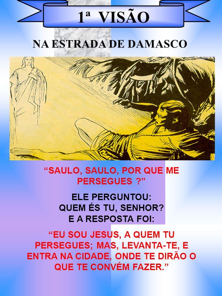 1ª VISÃO SAULO, SAULO, POR QUE ME PERSEGUES ? ELE PERGUNTOU: QUEM ÉS TU, SENHOR? E A RESPOSTA FOI: EU SOU JESUS, A QUEM TU PERSEGUES; MAS, LEVANTA-TE,
