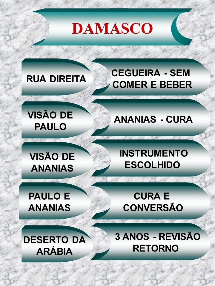 RUA DIREITA DAMASCO CEGUEIRA - SEM COMER E BEBER VISÃO DE ANANIAS VISÃO DE PAULO ANANIAS - CURA INSTRUMENTO ESCOLHIDO PAULO E ANANIAS CURA E CONVERSÃO