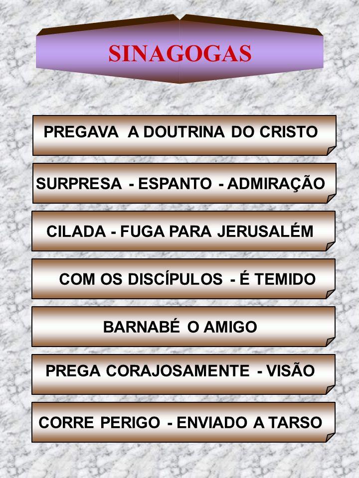 SINAGOGAS SURPRESA - ESPANTO - ADMIRAÇÃO PREGAVA A DOUTRINA DO CRISTO CILADA - FUGA PARA JERUSALÉM COM OS DISCÍPULOS - É TEMIDO BARNABÉ O AMIGO PREGA
