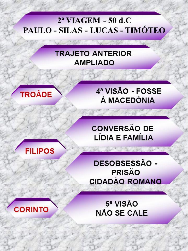 2ª VIAGEM - 50 d.C PAULO - SILAS - LUCAS - TIMÓTEO TRAJETO ANTERIOR AMPLIADO TROÂDE 4ª VISÃO - FOSSE À MACEDÔNIA FILIPOS CONVERSÃO DE LÍDIA E FAMÍLIA