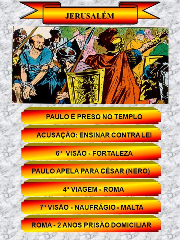 JERUSALÉM PAULO É PRESO NO TEMPLO ACUSAÇÃO: ENSINAR CONTRA LEI 6ª VISÃO - FORTALEZA PAULO APELA PARA CÉSAR (NERO) 4ª VIAGEM - ROMA 7ª VISÃO - NAUFRÁGI