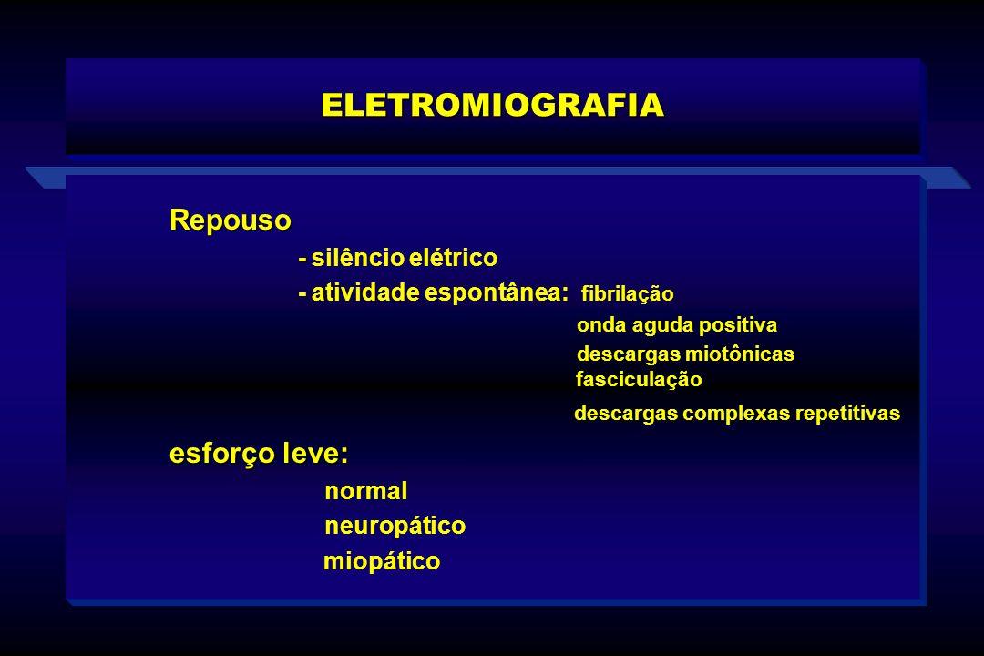 Repouso - - silêncio elétrico : - atividade espontânea: fibrilação onda aguda positiva descargas miotônicas fasciculação descargas complexas repetitiv