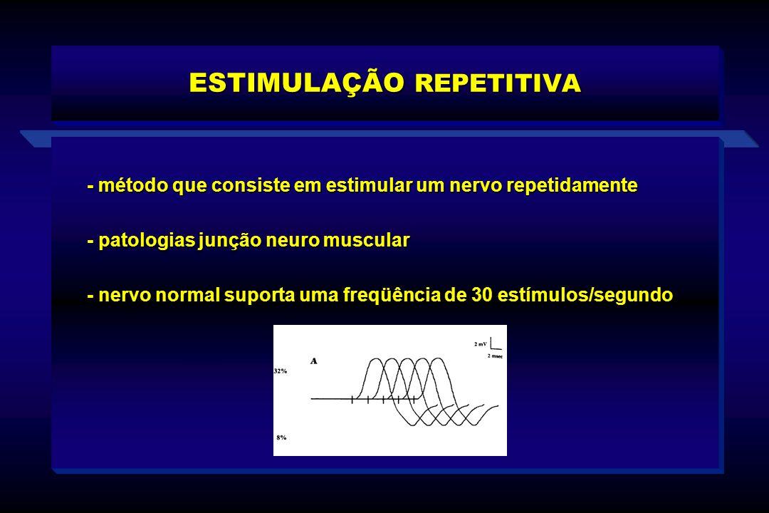 ESTIMULAÇÃO REPETITIVA - método que consiste em estimular um nervo repetidamente - patologias junção neuro muscular - nervo normal suporta uma freqüên