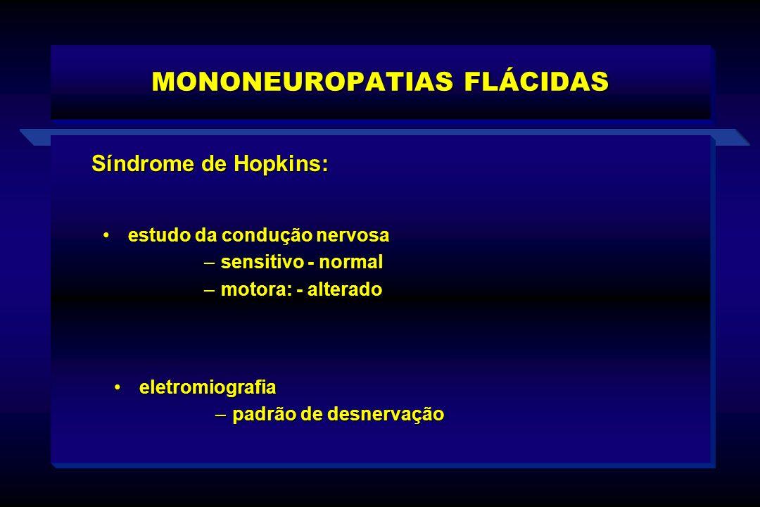 MONONEUROPATIAS FLÁCIDAS Síndrome de Hopkins: eletromiografiaeletromiografia –padrão de desnervação estudo da condução nervosaestudo da condução nervo