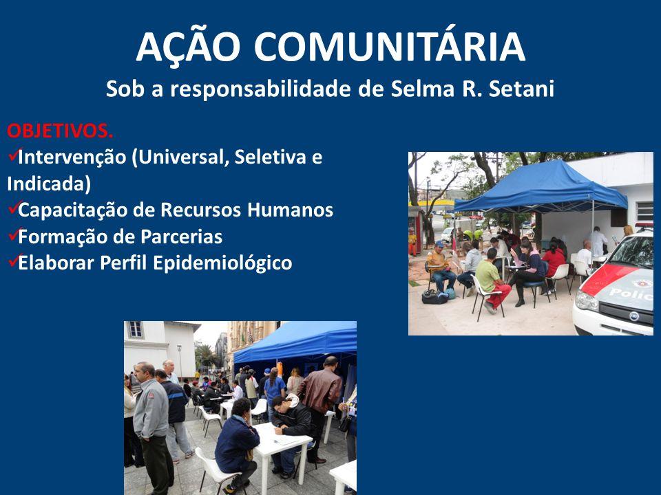 AÇÃO COMUNITÁRIA Sob a responsabilidade de Selma R. Setani OBJETIVOS. Intervenção (Universal, Seletiva e Indicada) Capacitação de Recursos Humanos For