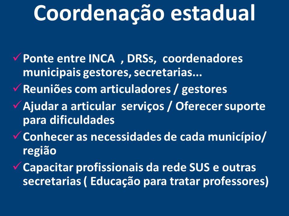 Coordenação estadual Ponte entre INCA, DRSs, coordenadores municipais gestores, secretarias... Reuniões com articuladores / gestores Ajudar a articula