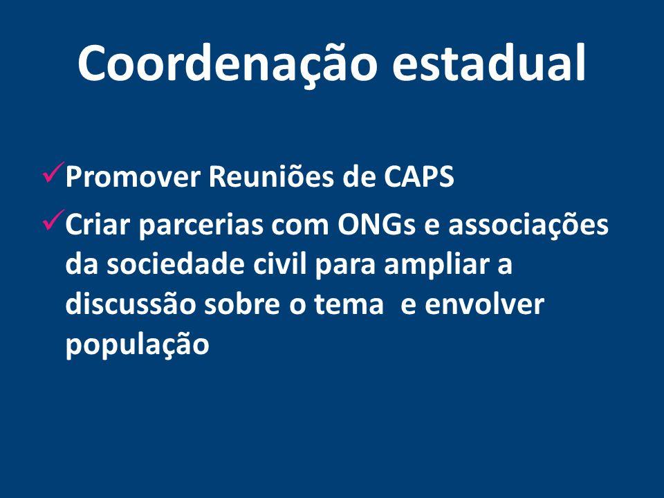 Coordenação estadual Promover Reuniões de CAPS Criar parcerias com ONGs e associações da sociedade civil para ampliar a discussão sobre o tema e envol