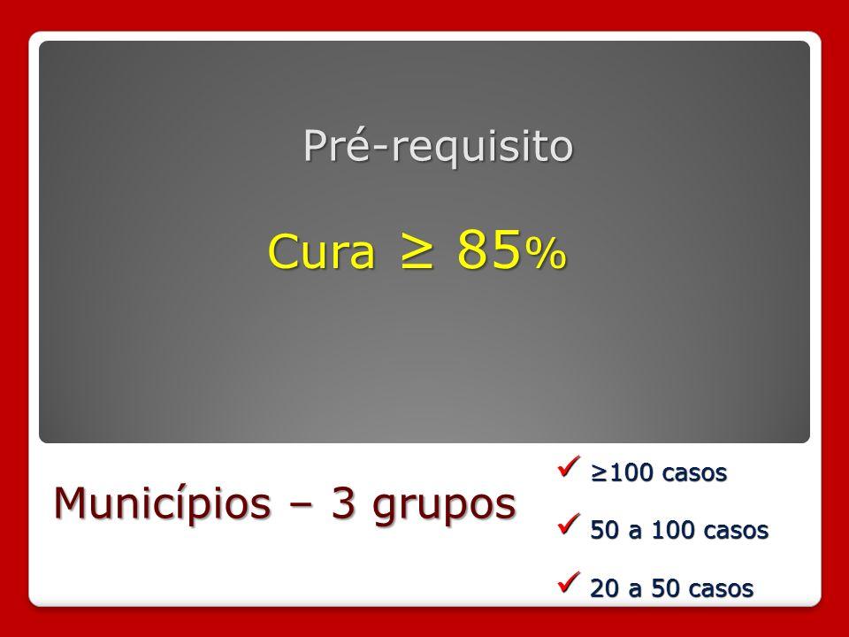 Pré-requisito Cura 85 % Municípios – 3 grupos 100 casos 100 casos 50 a 100 casos 50 a 100 casos 20 a 50 casos 20 a 50 casos