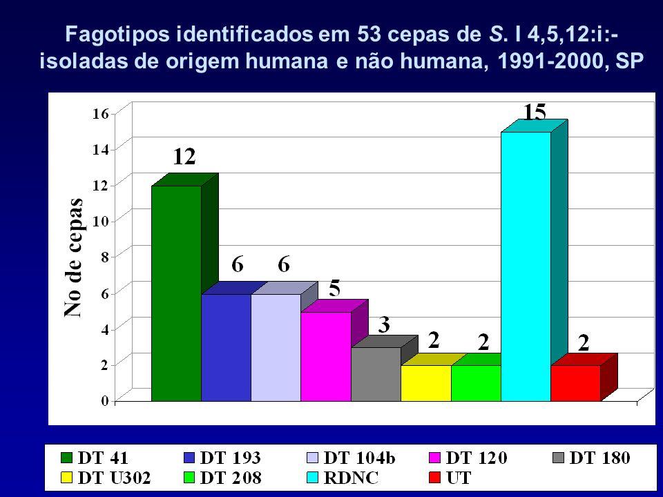 Fagotipos identificados em 53 cepas de S. I 4,5,12:i:- isoladas de origem humana e não humana, 1991-2000, SP