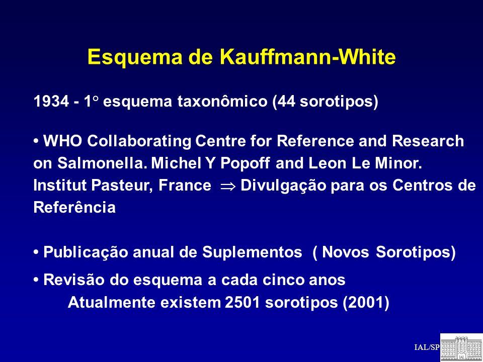 Esquema de Kauffmann-White 1934 - 1° esquema taxonômico (44 sorotipos) WHO Collaborating Centre for Reference and Research on Salmonella. Michel Y Pop