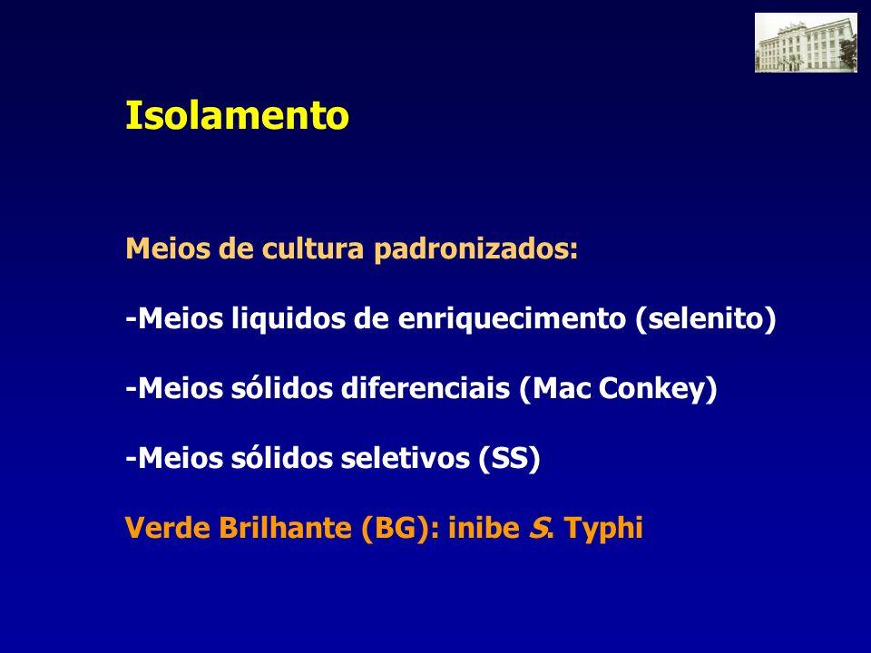 Isolamento Meios de cultura padronizados: -Meios liquidos de enriquecimento (selenito) -Meios sólidos diferenciais (Mac Conkey) -Meios sólidos seletiv