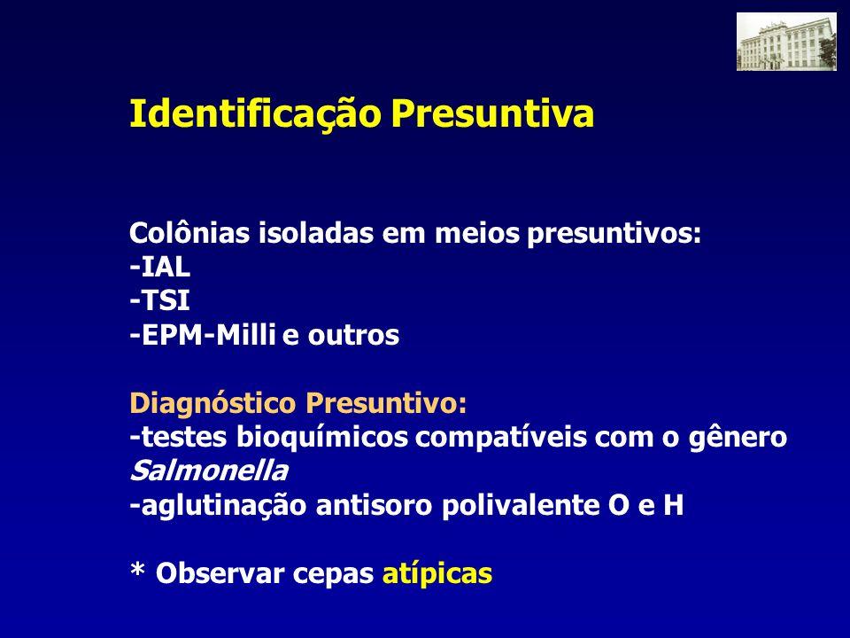 Identificação Presuntiva Colônias isoladas em meios presuntivos: -IAL -TSI -EPM-Milli e outros Diagnóstico Presuntivo: -testes bioquímicos compatíveis