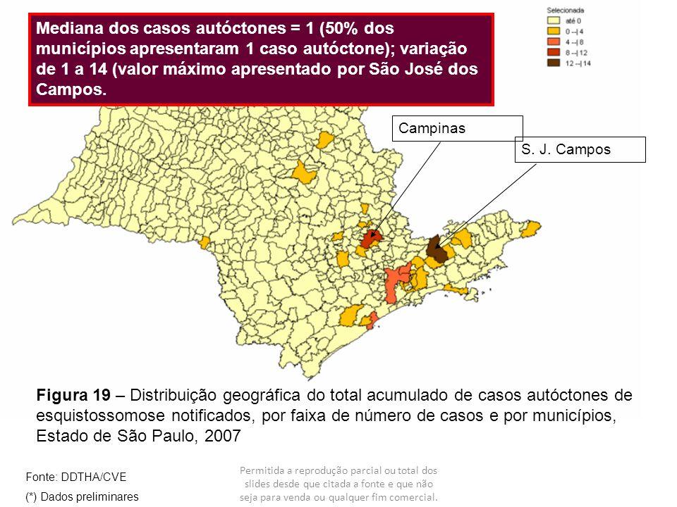 Figura 19 – Distribuição geográfica do total acumulado de casos autóctones de esquistossomose notificados, por faixa de número de casos e por municípi