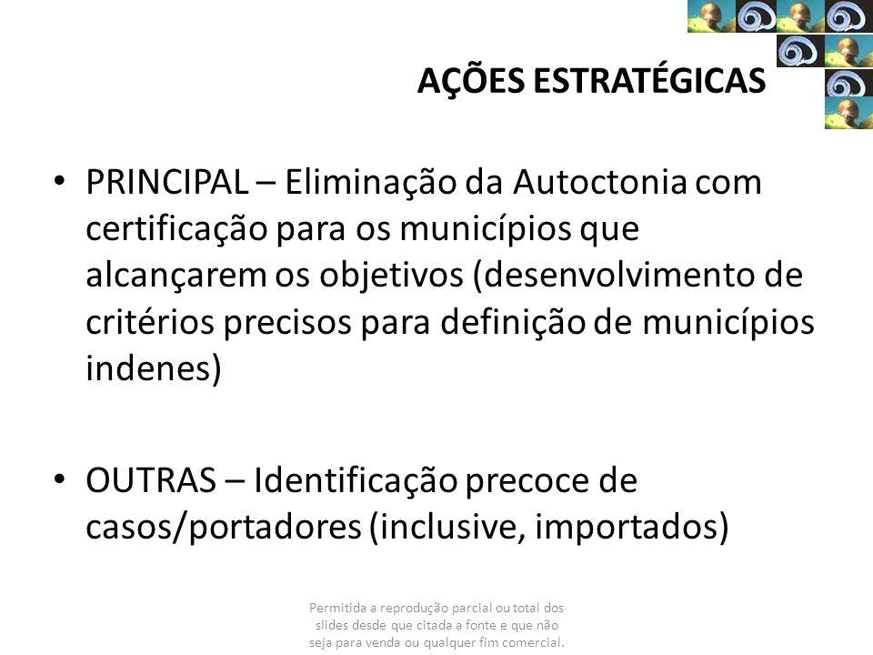 AÇÕES ESTRATÉGICAS PRINCIPAL – Eliminação da Autoctonia com certificação para os municípios que alcançarem os objetivos (desenvolvimento de critérios