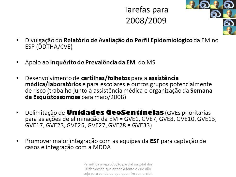 Tarefas para 2008/2009 Divulgação do Relatório de Avaliação do Perfil Epidemiológico da EM no ESP (DDTHA/CVE) Apoio ao Inquérito de Prevalência da EM