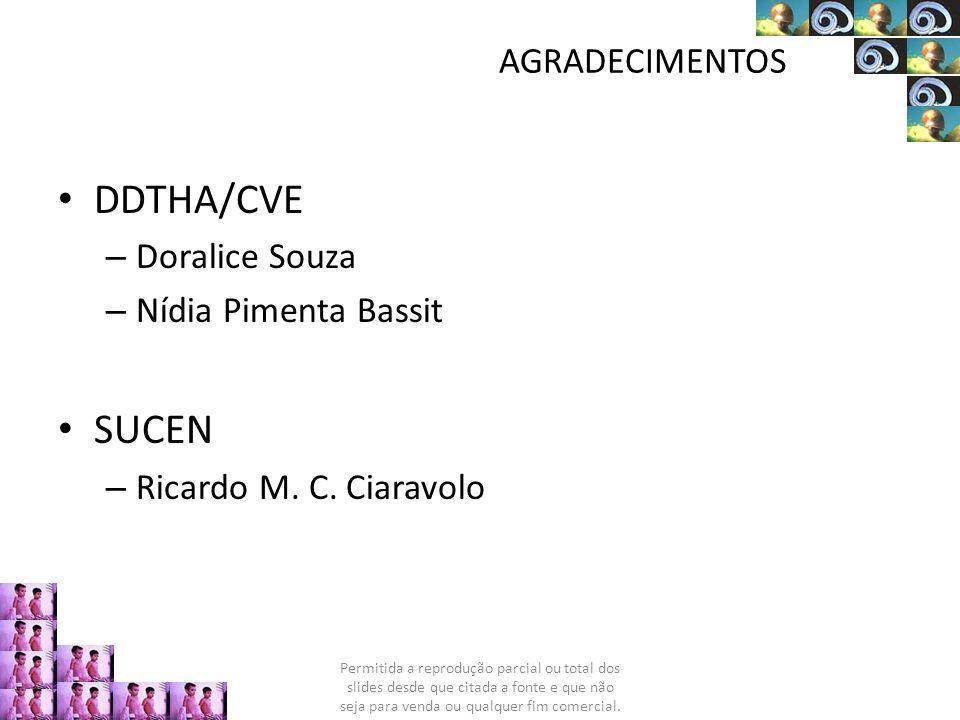 AGRADECIMENTOS DDTHA/CVE – Doralice Souza – Nídia Pimenta Bassit SUCEN – Ricardo M. C. Ciaravolo Permitida a reprodução parcial ou total dos slides de