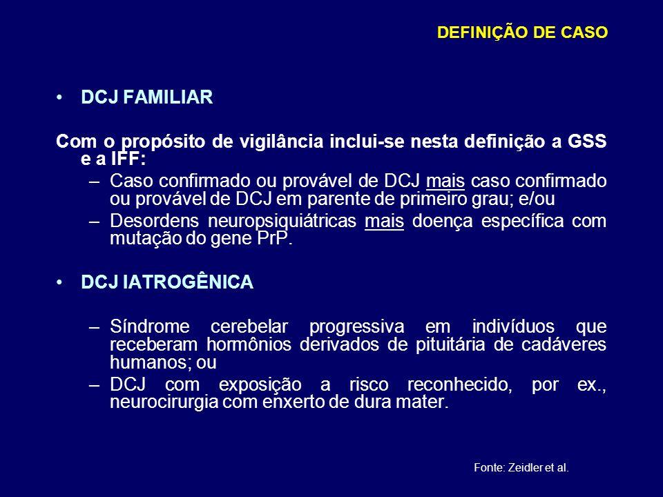 DCJ FAMILIAR Com o propósito de vigilância inclui-se nesta definição a GSS e a IFF: –Caso confirmado ou provável de DCJ mais caso confirmado ou provável de DCJ em parente de primeiro grau; e/ou –Desordens neuropsiquiátricas mais doença específica com mutação do gene PrP.