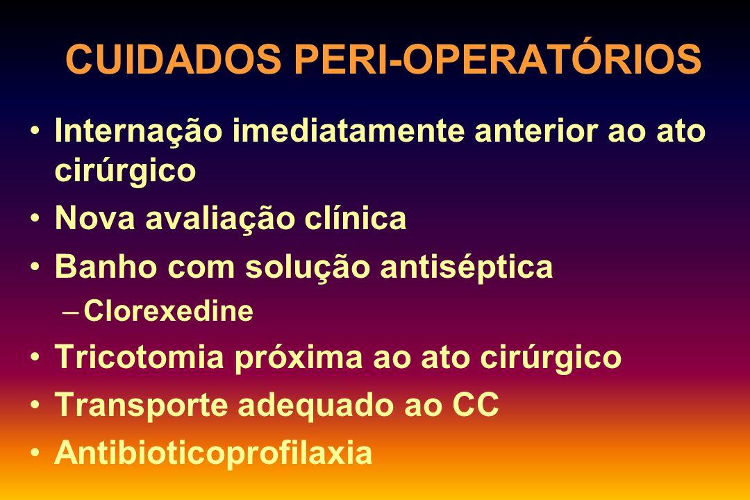 ANTIBIOTICOPROFILAXIA - DROGAS: CIRURGIA GINECOLÓGICA CesáreaEnterobactérias Strepto grupo B Enterococcus Cefazolina HisterectomiaEnterobactérias Strepto grupo B Enterococcus Cefazolina AbortamentoEnterobactérias Strepto grupo B Enterococcus Cefazolina