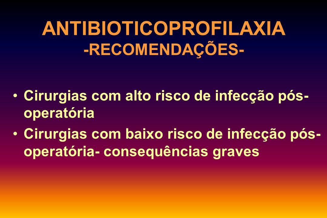 ANTIBIOTICOPROFILAXIA - INDICAÇÕES- Cirurgias limpas Implantação de materiais de síntese Próteses Próstáticos, pulmonares crônicos, diabéticos, imunodeprimidos, próteses, endocardite prévia.