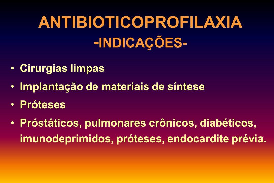 CLASSIFICAÇÃO DAS CIRURGIAS TipoDefiniçãoRisco de infecção LimpaAtraumáticas, sem manipulação do TGI, GU, Resp.