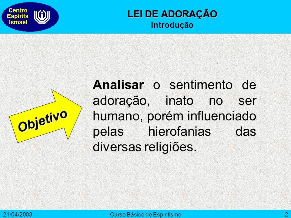21/04/2003Curso Básico de Espiritismo3 Ad e Orare A palavra adorar vem do latim ad e orare que significa orar para alguém.