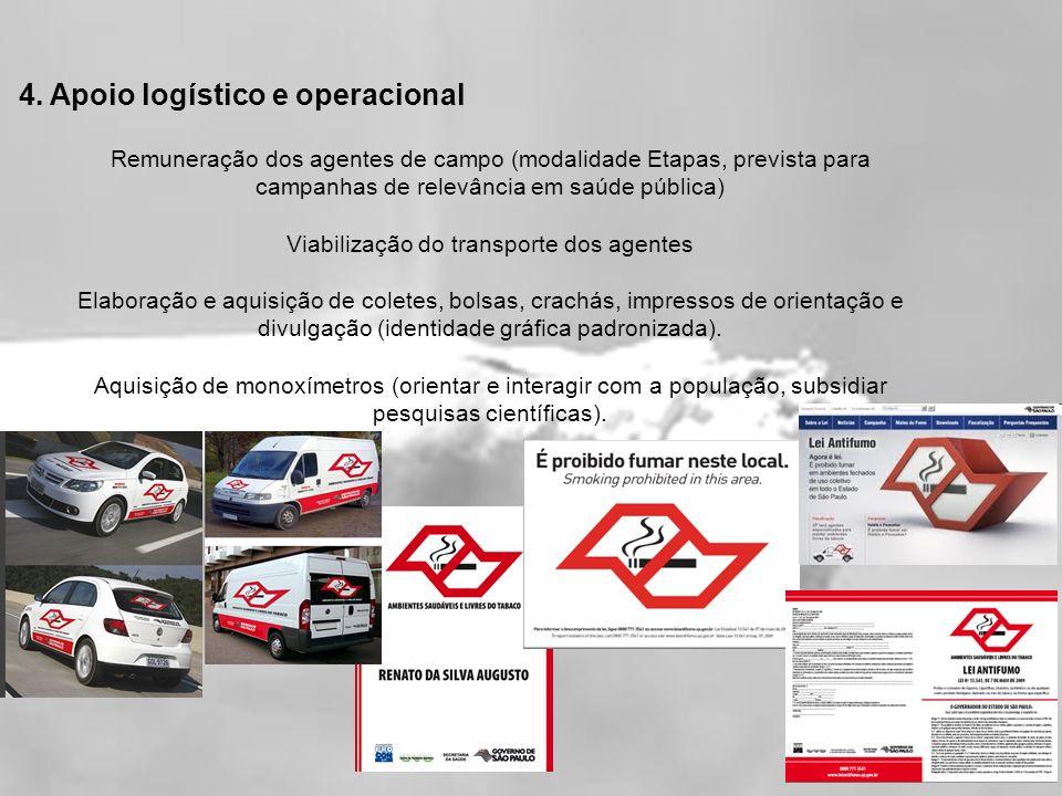4. Apoio logístico e operacional Remuneração dos agentes de campo (modalidade Etapas, prevista para campanhas de relevância em saúde pública) Viabiliz