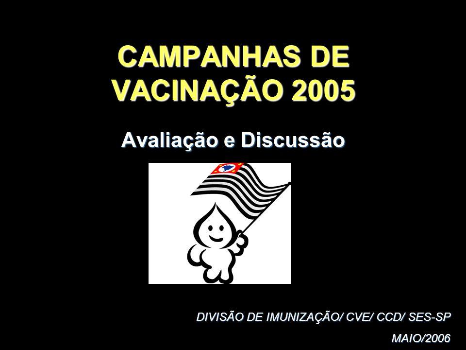 CAMPANHAS DE VACINAÇÃO 2005 Avaliação e Discussão DIVISÃO DE IMUNIZAÇÃO/ CVE/ CCD/ SES-SP MAIO/2006 MAIO/2006