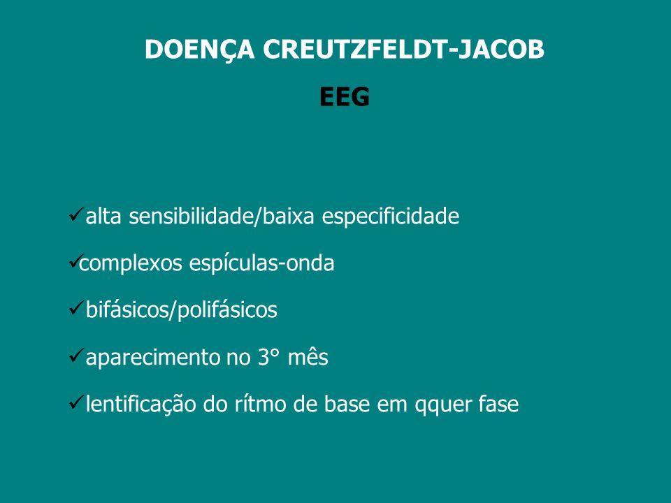 DOENÇA CREUTZFELDT-JACOB EEG podem não ocorrer alterações em 25% falso +: intoxicação por lítio; encefalopatia hepática