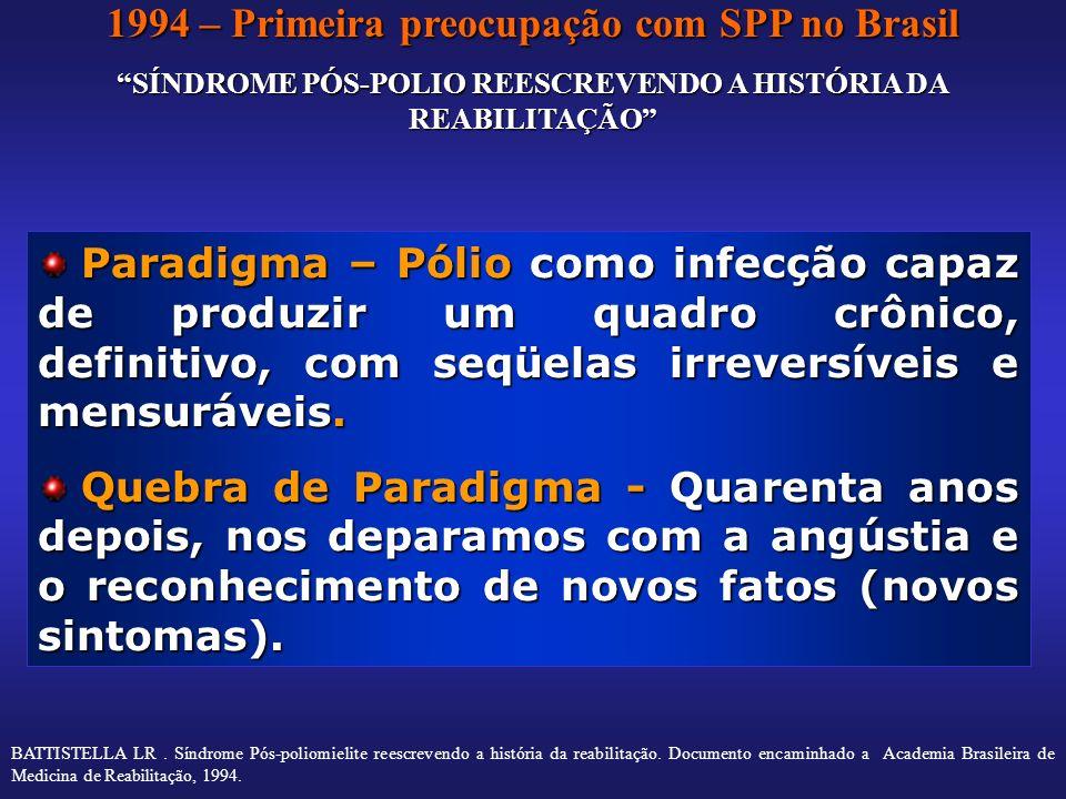 1994 – Primeira preocupação com SPP no Brasil SÍNDROME PÓS-POLIO REESCREVENDO A HISTÓRIA DA REABILITAÇÃO Paradigma – Pólio como infecção capaz de prod