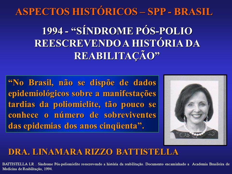 ASPECTOS HISTÓRICOS – SPP - BRASIL 1994 - SÍNDROME PÓS-POLIO REESCREVENDO A HISTÓRIA DA REABILITAÇÃO No Brasil, não se dispõe de dados epidemiológicos