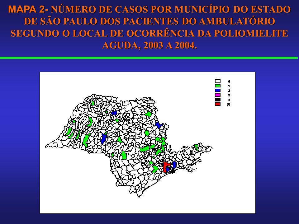 MAPA 2- NÚMERO DE CASOS POR MUNICÍPIO DO ESTADO DE SÃO PAULO DOS PACIENTES DO AMBULATÓRIO SEGUNDO O LOCAL DE OCORRÊNCIA DA POLIOMIELITE AGUDA, 2003 A