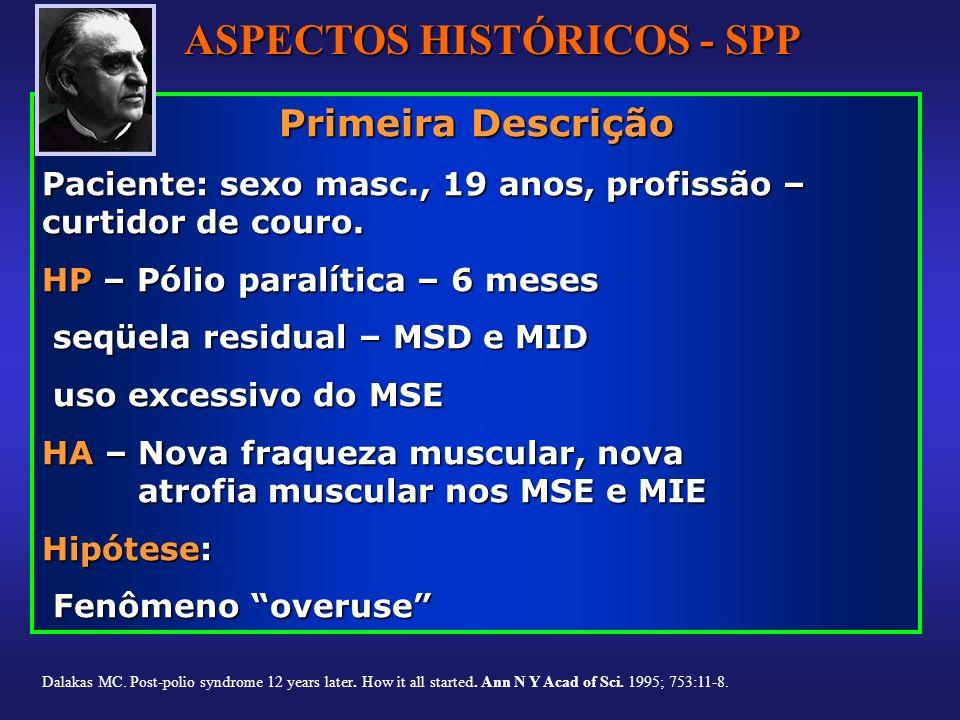 Primeira Descrição Paciente: sexo masc., 19 anos, profissão – curtidor de couro. HP – Pólio paralítica – 6 meses seqüela residual – MSD e MID seqüela
