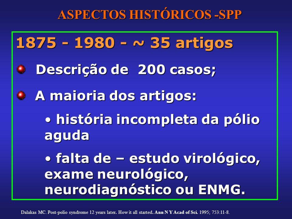 1875 - 1980 - ~ 35 artigos Descrição de 200 casos; Descrição de 200 casos; A maioria dos artigos: A maioria dos artigos: história incompleta da pólio