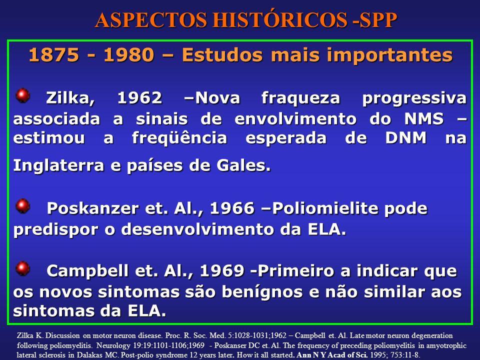 1875 - 1980 – Estudos mais importantes Zilka, 1962 –Nova fraqueza progressiva associada a sinais de envolvimento do NMS – estimou a freqüência esperad