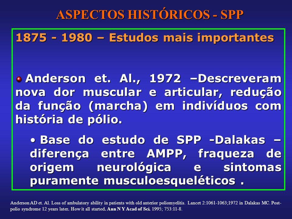1875 - 1980 – Estudos mais importantes Anderson et. Al., 1972 –Descreveram nova dor muscular e articular, redução da função (marcha) em indivíduos com