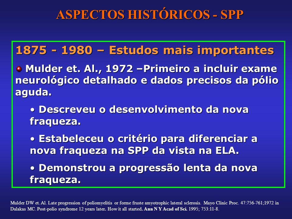 1875 - 1980 – Estudos mais importantes Mulder et. Al., 1972 –Primeiro a incluir exame neurológico detalhado e dados precisos da pólio aguda. Mulder et
