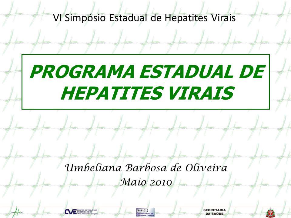 Número de casos notificados de Hepatites Virais de acordo com o sexo e a faixa etária - Estado de São Paulo – 2002 A 2010* Hepatite C Fonte: SINAN CVE * dados provisórios até 30/04/2010, sujeitos a correção.