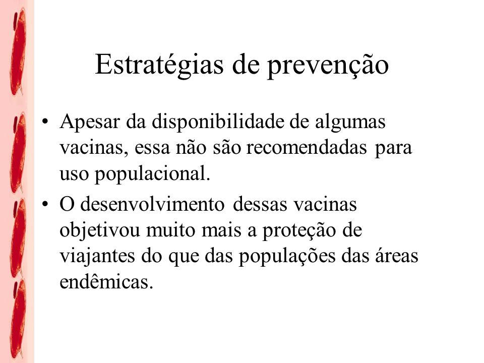 Estratégias de prevenção Apesar da disponibilidade de algumas vacinas, essa não são recomendadas para uso populacional. O desenvolvimento dessas vacin