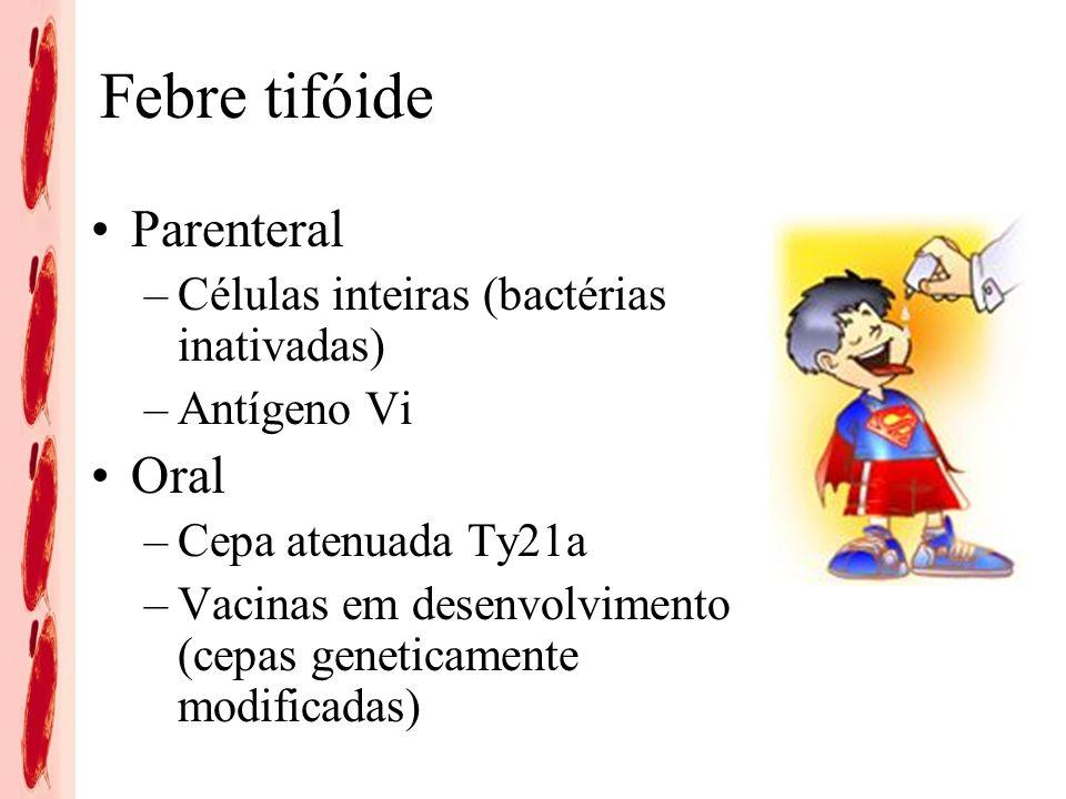 Febre tifóide Parenteral –Células inteiras (bactérias inativadas) –Antígeno Vi Oral –Cepa atenuada Ty21a –Vacinas em desenvolvimento (cepas geneticamente modificadas)
